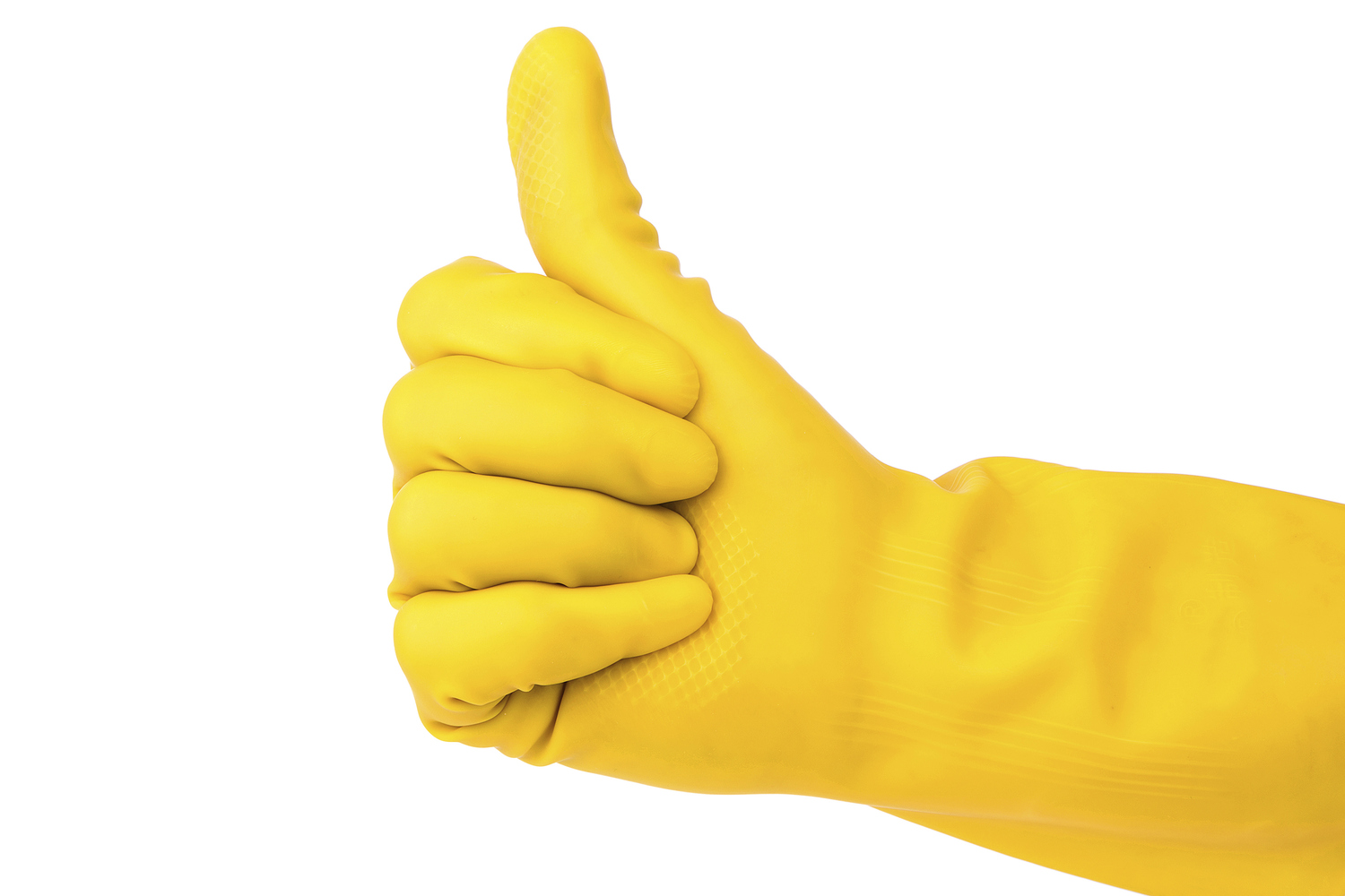 yellow glove isolated on white background:Cleaning's is perfect !